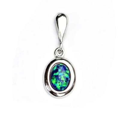 Strieborný prívesok sa zelenomodrým opálom