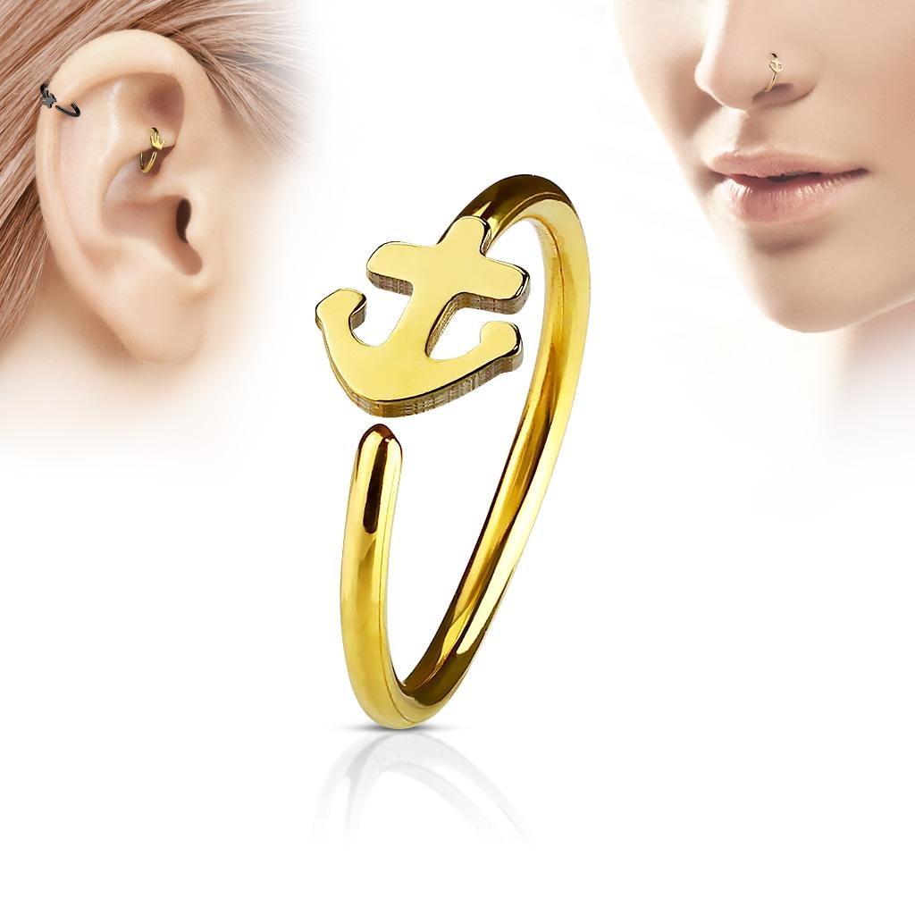 Zlacený piercing do nosu/ucha kruh s kotvou