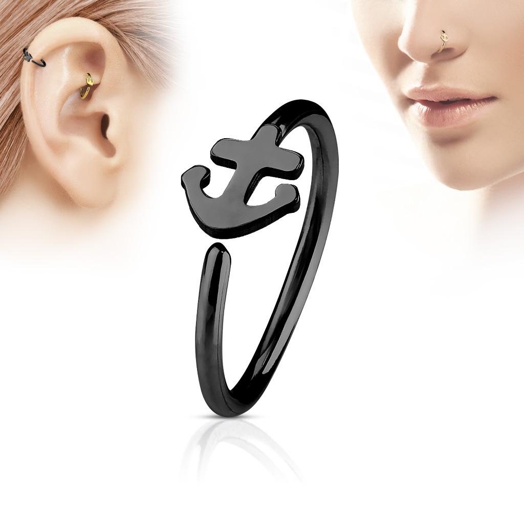 Čierny piercing do nosa / ucha kruh s kotvou