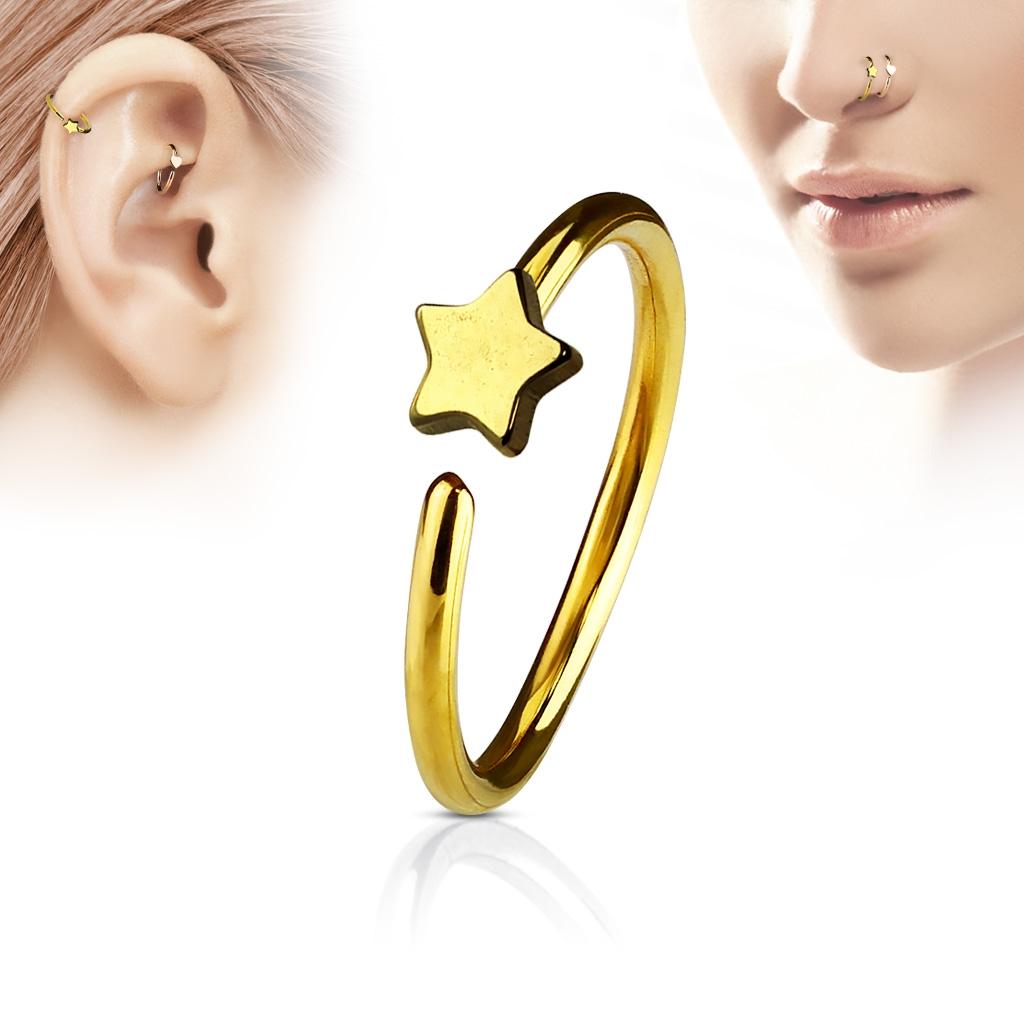 Piercing do nosu/ucha kruh s hvězdou