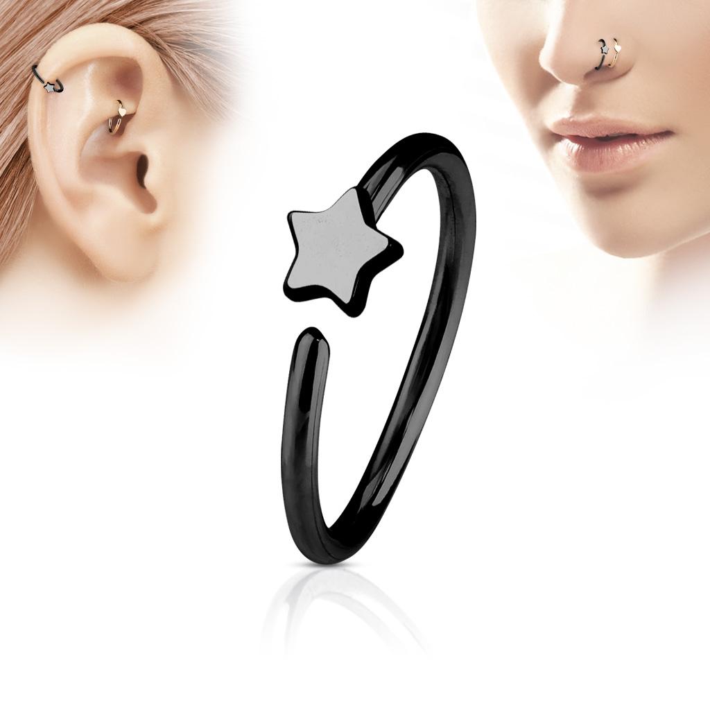Čierny piercing do nosa / ucha kruh s hviezdou