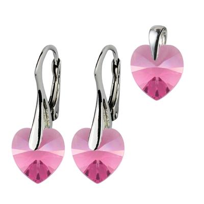 Strieborné náušnice a prívesok srdiečka s kryštálmi Swarovski ®, Pink