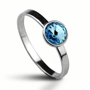 Stříbrný prsten s kamenem Crystals from Swarovski®, barva: AQUAMARINE