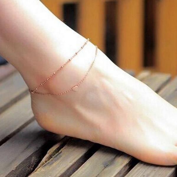 Dvojitý pozlátená retiazka na nohu so srdiečkom
