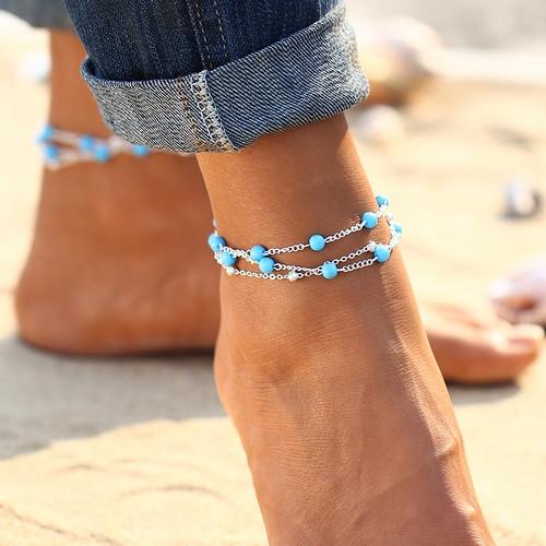 Postriebrená retiazka na nohu s tyrkysovými korálkami