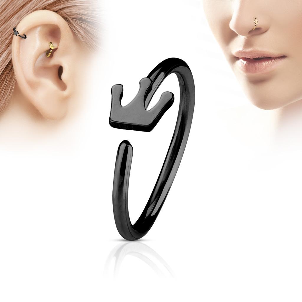 Čierny piercing do nosa / ucha kruh s korunkou