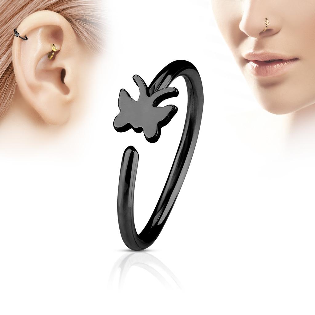 Čierny piercing do nosa / ucha kruh s motýlikom