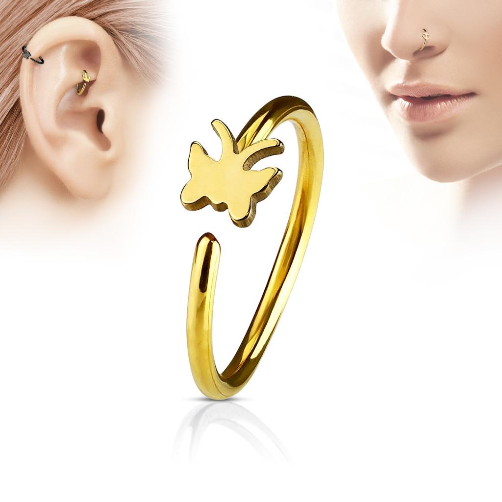 Zlacený piercing do nosu/ucha kruh s motýlkem