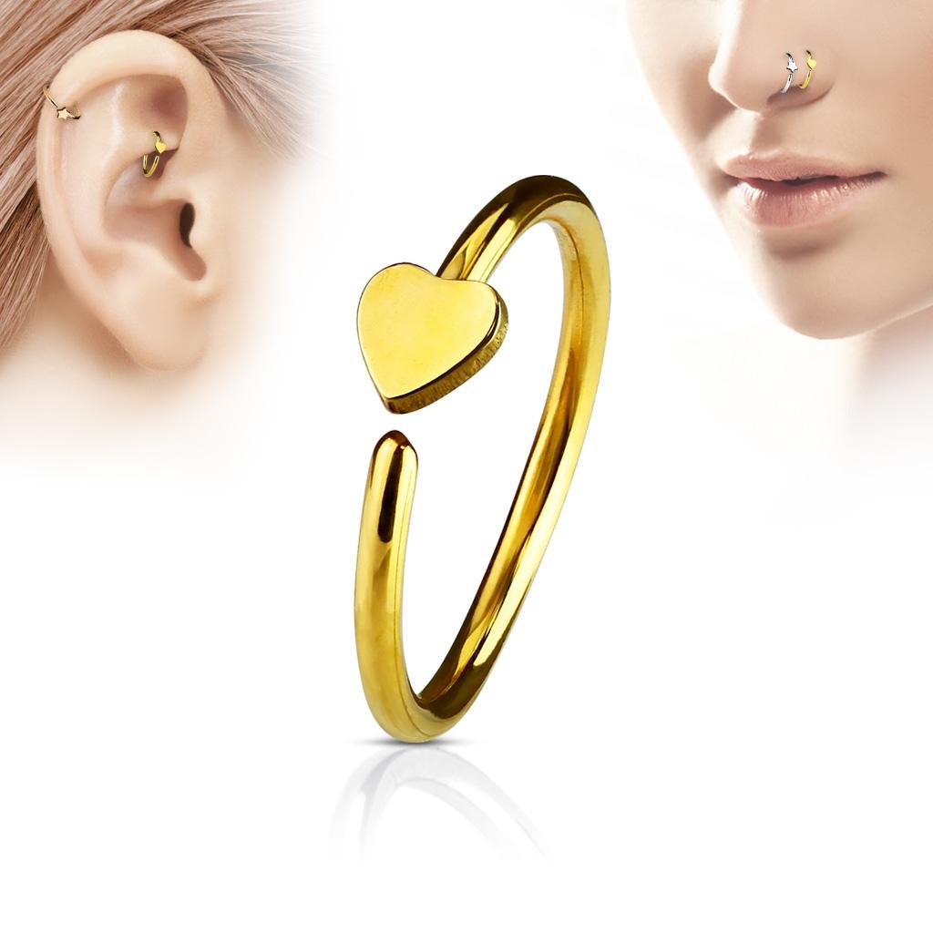 Zlacený piercing do nosu/ucha kruh se srdíčkem