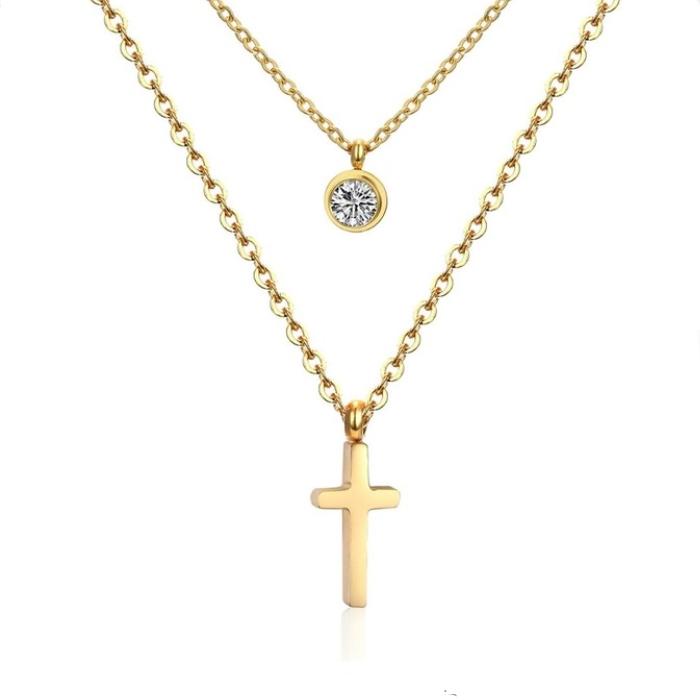 Dvojitý oceľový náhrdelník s príveskami