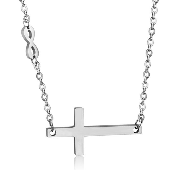 Dámsky oceľový náhrdelník s krížikom