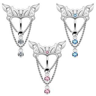 Šperky4U Piercing do pupíku s ozdobným štítem - WP01047-P