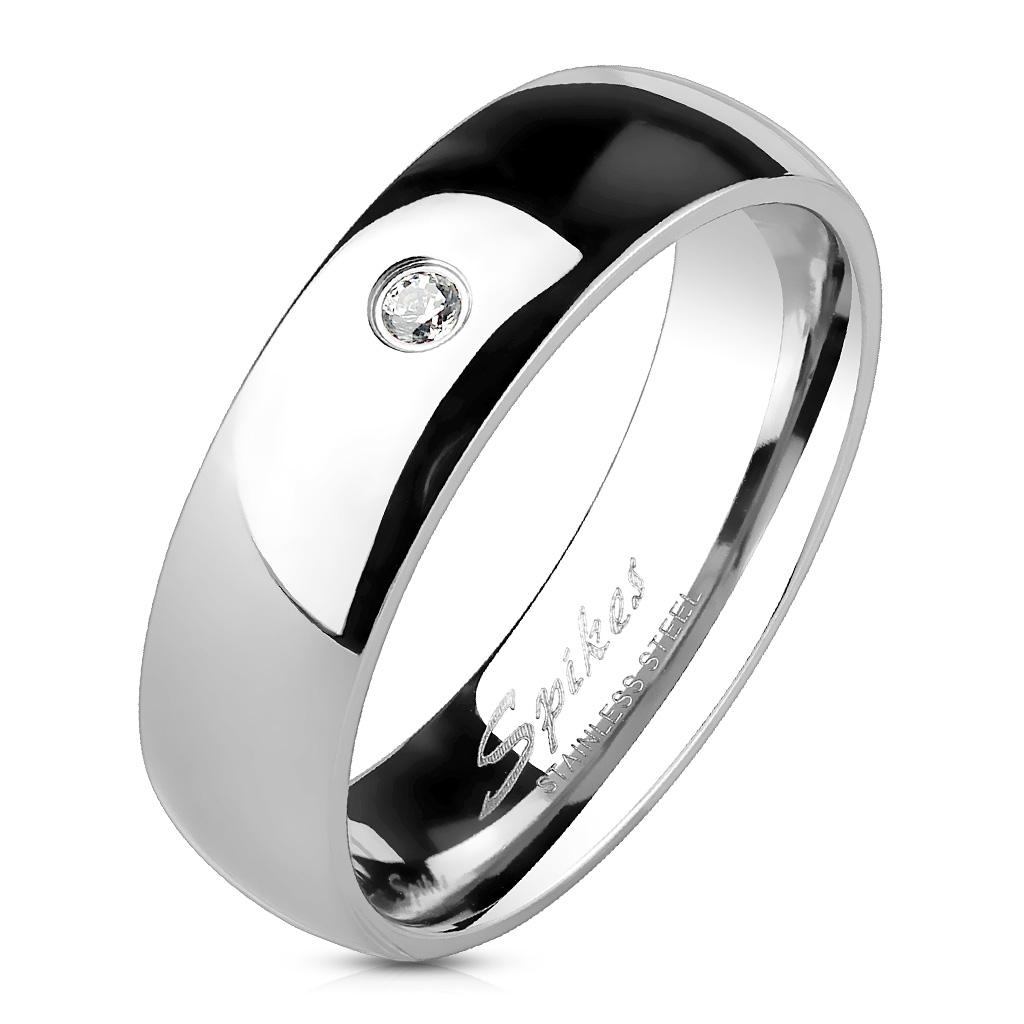 Oceľový prsteň so zirkónom, šírka 6 mm