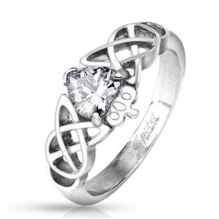 Ocelový prsten s čirým zirkonem, vel. 52