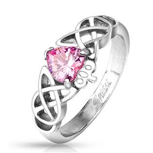 OPR1696 Ocelový prsten s růžovým zirkonem, vel. 52