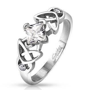 Ocelový prsten se čtvercovým zirkonem, vel. 52