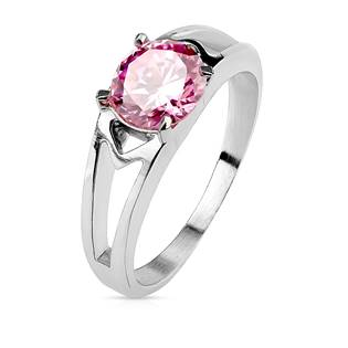 OPR1703 Ocelový prsten s růžovým zirkonem, vel. 52