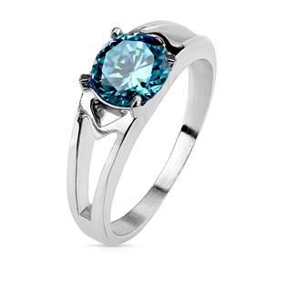 Ocelový prsten s tyrkysovým zirkonem, vel. 52