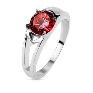 Ocelový prsten s červeným zirkonem, vel. 52