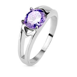 Ocelový prsten s fialovým zirkonem, vel. 52