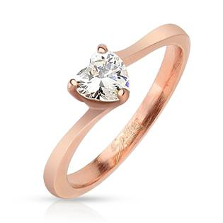 Ocelový prsten se zirkonem, vel. 52
