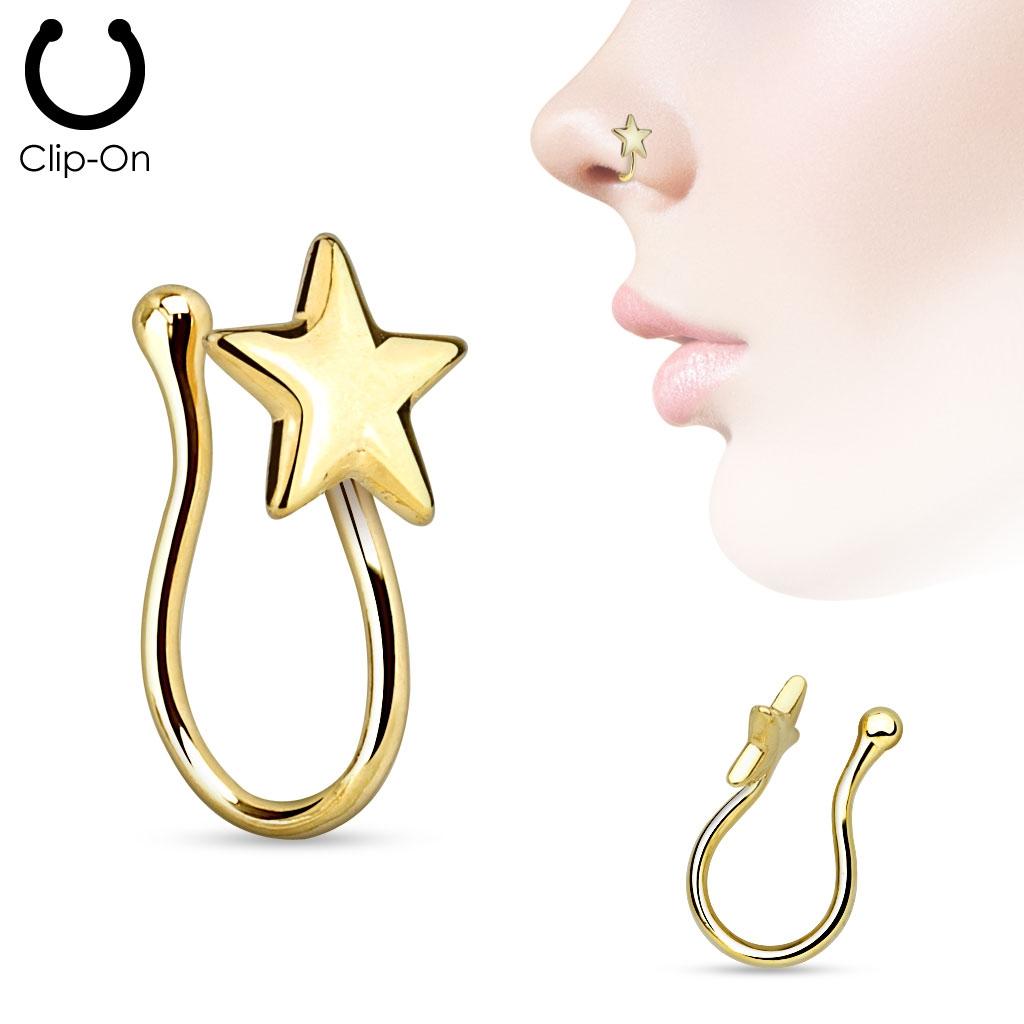 Falošný piercing do nosa - klips hviezda pozlátená