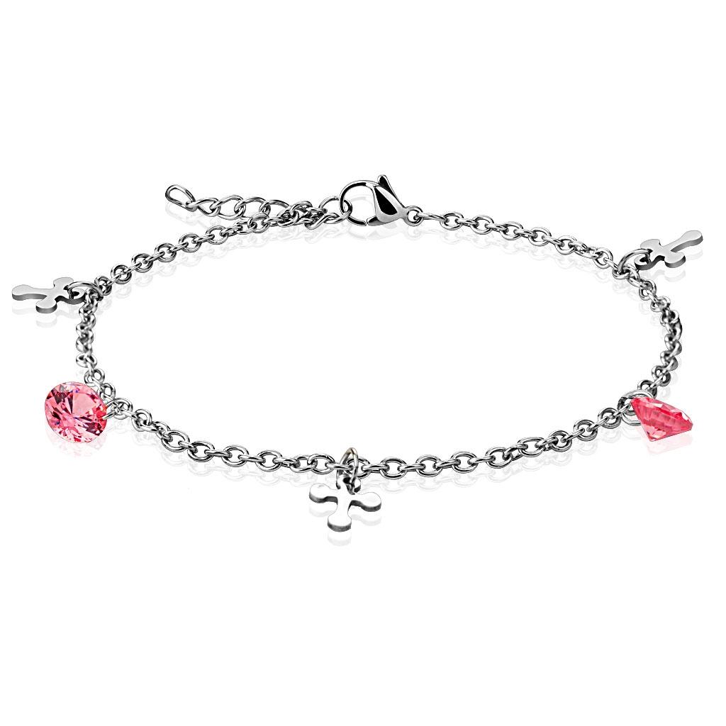 Dámska oceľová retiazka na ruku / nohu, ružové kamienky