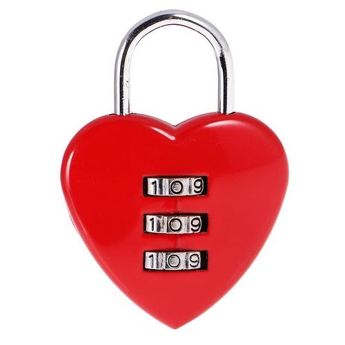Zámok lásky - srdiečko červené, rozmer 58 x 39 mm