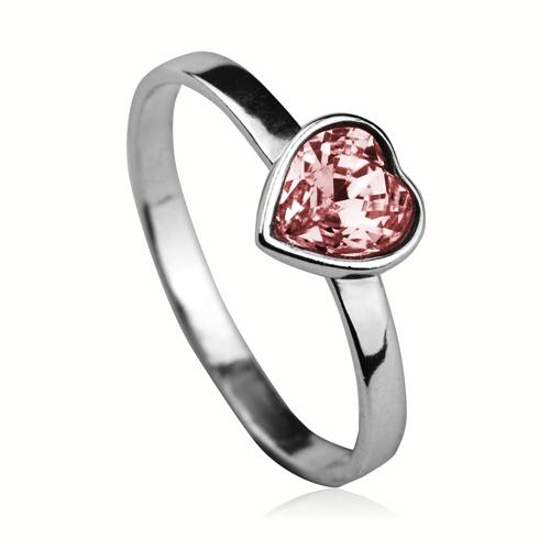 Strieborný prsteň so srdiečkom Crystals from SWAROVSKI®, farba: LIGHT ROSE