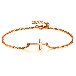 Pozlacený stříbrný náramek - křížek ZB86192-RD