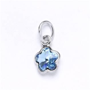 Stříbrný přívěšek s kytičkou Crystals from SWAROVSKI®, barva: Aquamarine