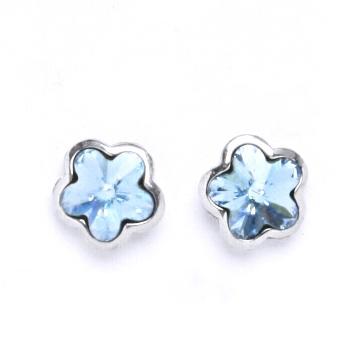 Skrutkovacie strieborné náušnice s kvietkami Crystals from SWAROVSKI®, farba: AQUAMARINE