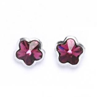 Šroubovací stříbrné náušnice s kytičkami Crystals from SWAROVSKI®, barva: Fuchsia