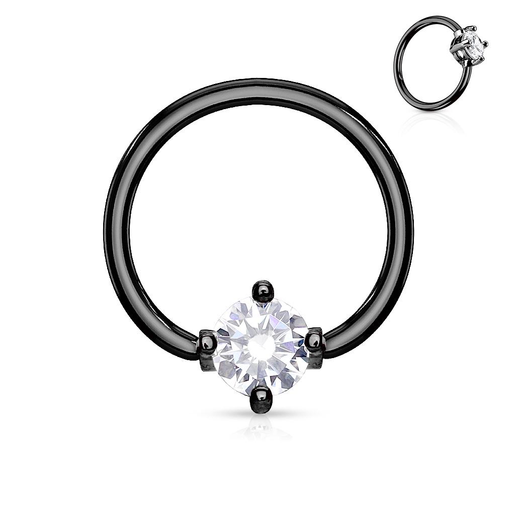 Čierny piercing - kruh s kamienkom, číra farba