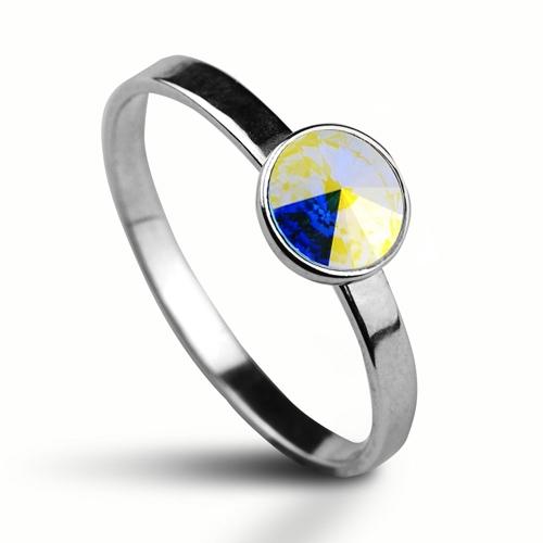 Strieborný prsteň s kameňom Crystals from Swarovski ®, farba: CRYSTAL AB