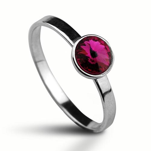 Strieborný prsteň s kameňom Crystals from Swarovski ®, farba: FUCHSIA
