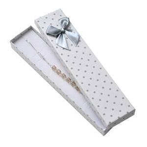 KR0181-WH Dárková krabička na náramek bílá, šedé puntíky