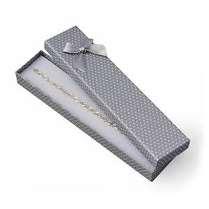 Dárková krabička na náramek šedá, bílé puntíky