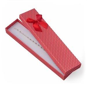 Darčeková krabička na náramok červená, biele bodky