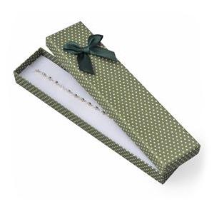 Darčeková krabička na náramok zelená, biele bodky