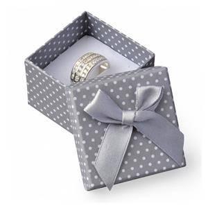 Dárková krabička na prsten šedá - bílé puntíky