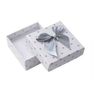Krabička na soupravu šperků bílá, šedé puntíky