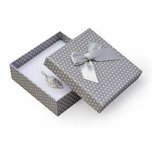 Krabička na soupravu šperků šedá, bílé puntíky