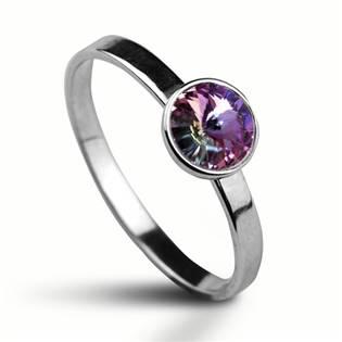 Stříbrný prsten s kamenem Crystals from SWAROVSKI®, barva: VITRAIL LIGHT