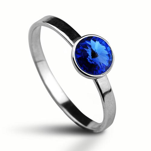 Strieborný prsteň s kameňom Crystals from Swarovski ®, farba: SAPPHIRE