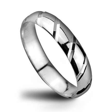 Pánský stříbrný snubní prsten, šíře 4 mm
