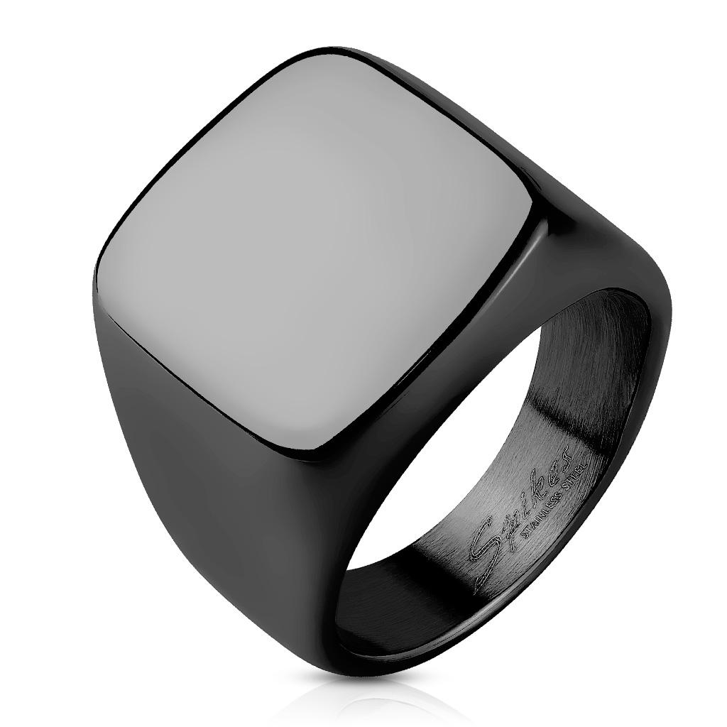 Čierny pečatný oceľový prsteň, veľ. 63