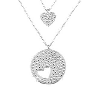 OPD0060 Dvojitý ocelový náhrdelník s přívěšky