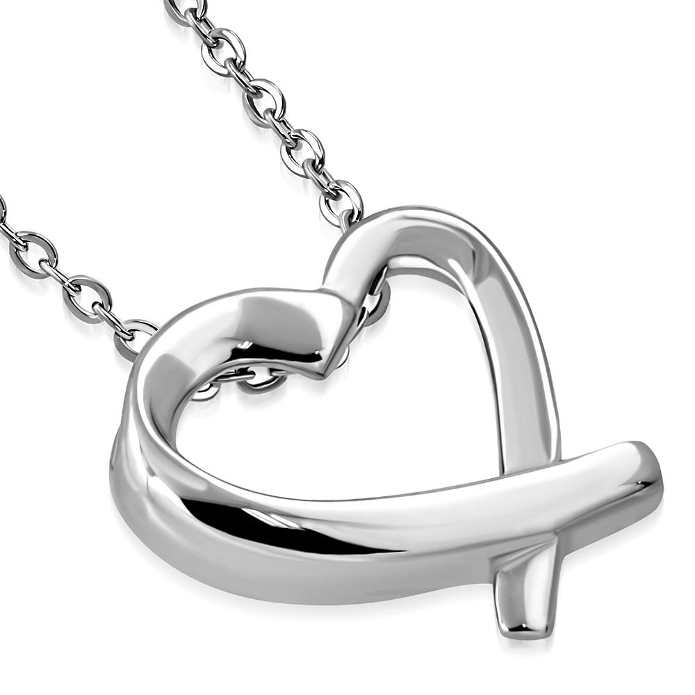 Ocelový řetízek s přívěškem - srdce zkřížené