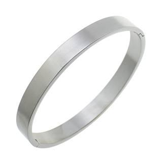 Ocelový náramek kruh otevírací 55 x 48 mm, šíře 4 mm, matný